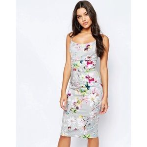 Asos Printed Floral Fitted Dress- US 4